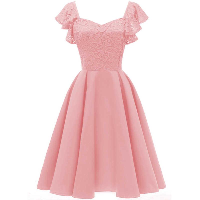 3c40ece4ef7b Vintage 1950s Women Lace Party Dress V-neck Sleeveless Ruffles Back Zipper  Elegant Midi Dresses