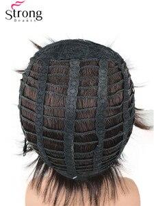 Image 4 - StrongBeauty Mens Korte Synthetisch Haar Pruik Natuurlijke Wave Donkerbruin Zwart Pruiken