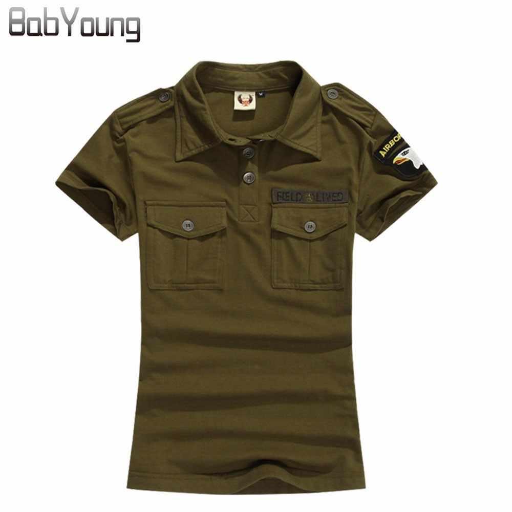 Babyoung 新夏カジュアルポロ女性迷彩アーミーグリーン綿シャツポロファムポロ mujer 半袖シャツ黒