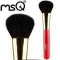 MSQ Única Face Pó Escova de Alta Qualidade Pêlo De Cabra XGF Vermelho Natural Punho de Madeira Alumínio Ponteira de Ouro Série de Moda
