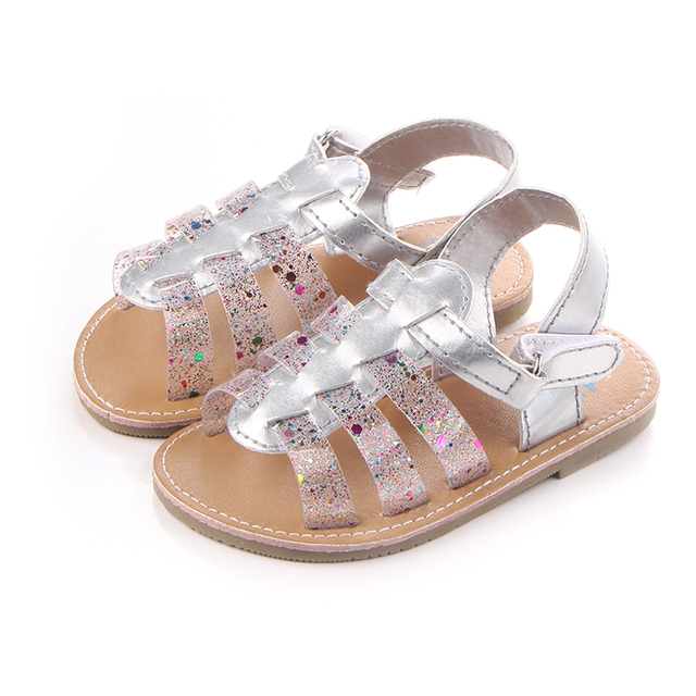 ae11e245f 2017 Fashion Design Rainbow PU Leather Flat with Hard Sole Baby Girl Shoes  Sandals For 0-15 Months