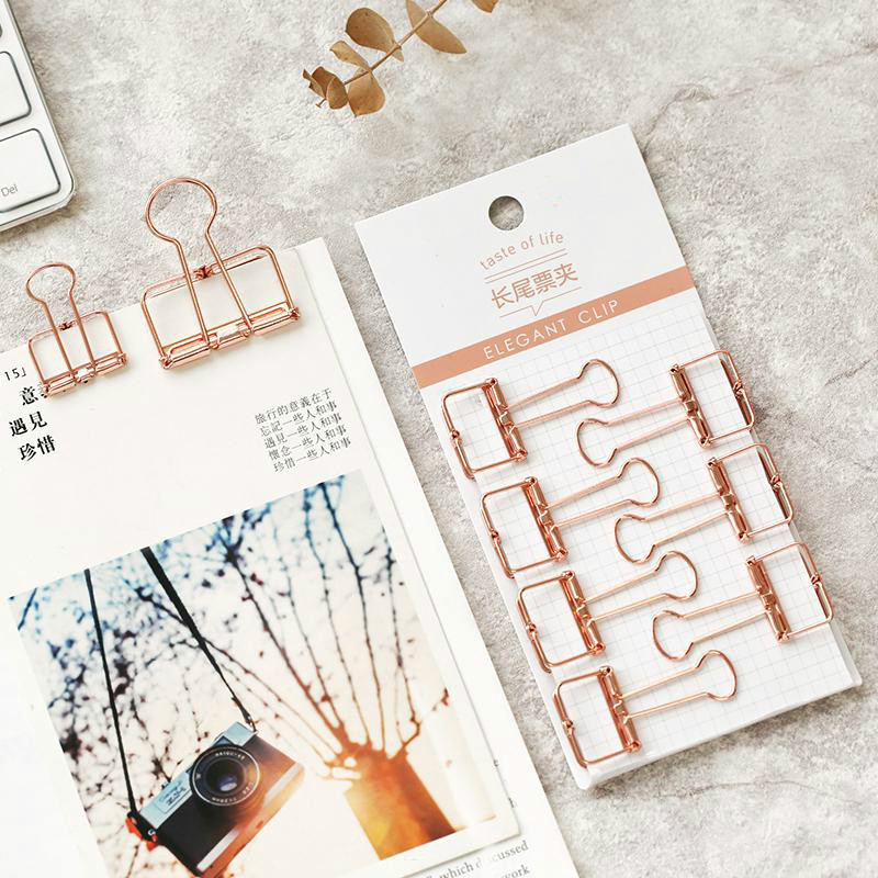 8pcs Rosegold Tail Ticket Binder Clip Document Information File Paper Clip Seal Hollow Metal Ticket Clip Office Accessories