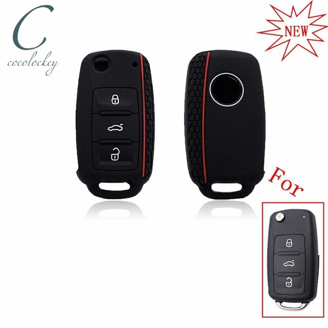 Cocolockey Silicone Car Key Cover Case for VW golf for Skoda Yeti Superb Rapid Octavia for SEAT leon ibiza 3 button remote