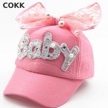 COKK Brand New Summer Children Kids Pearl Flower Bow Peak Cap Baseball Cap Hat For Girls Children Adjustable Snapback Casquette