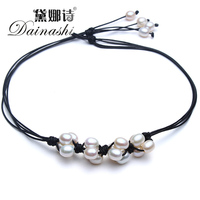 New Style Of 2017 Chocker Necklace 8 9mm Natural Freshwater Pearl Pink Purple White AAAA Fashion Design DIY Beautiful Necklace
