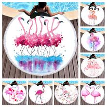 Free shipping Novelty Gift Fringe Large Spa Swim Bath beach towel Blanket Watercolor Pink Purple Flamingo Flower Love Words