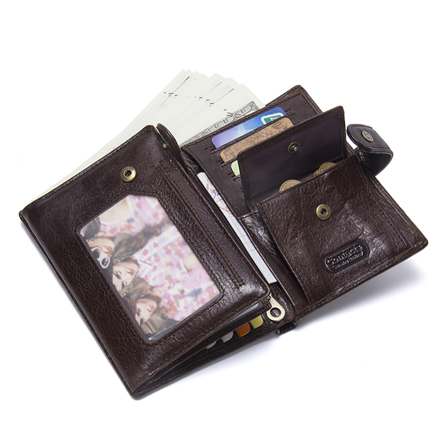 CONTACT'S Leather Wallet Luxury Male Genuine Leather Wallets Men Hasp Purse With Passcard Pocket and Card Holder High Quality 4