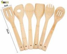 Envío Gratis 2016 Nuevo de la Llegada 6 Unidades De Bambú Cuchara Espátula de Mezcla Conjunto Ecológico Utensilios de Cocina Herramienta de Cocina De Madera