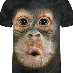 Летняя мужская брендовая одежда, футболка с круглым вырезом и коротким рукавом, футболка с изображением животного обезьяны/льва, 3D цифровая печать, футболка Homme, большой размер #15