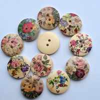 50Pcs/set 20mm Mixed Retro Natural Round Printing Pattern Wooden Sewing Buttons Random Colour DIY Handmade Clothes Accessories