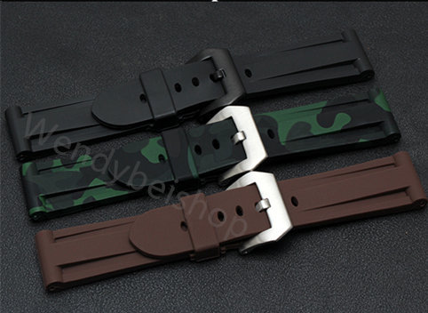 24mm Wholesale Blue Army Green Brown Orange Black Waterproof Silicone Rubber Wrist Watch Band Strap Belt Pre-V Screw in Buckle