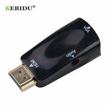 Kebidu HDMI VGA adaptörü dönüştürücü kablosu ile ses kablosu erkek kadın desteği HD 1080P PC Laptop için toptan