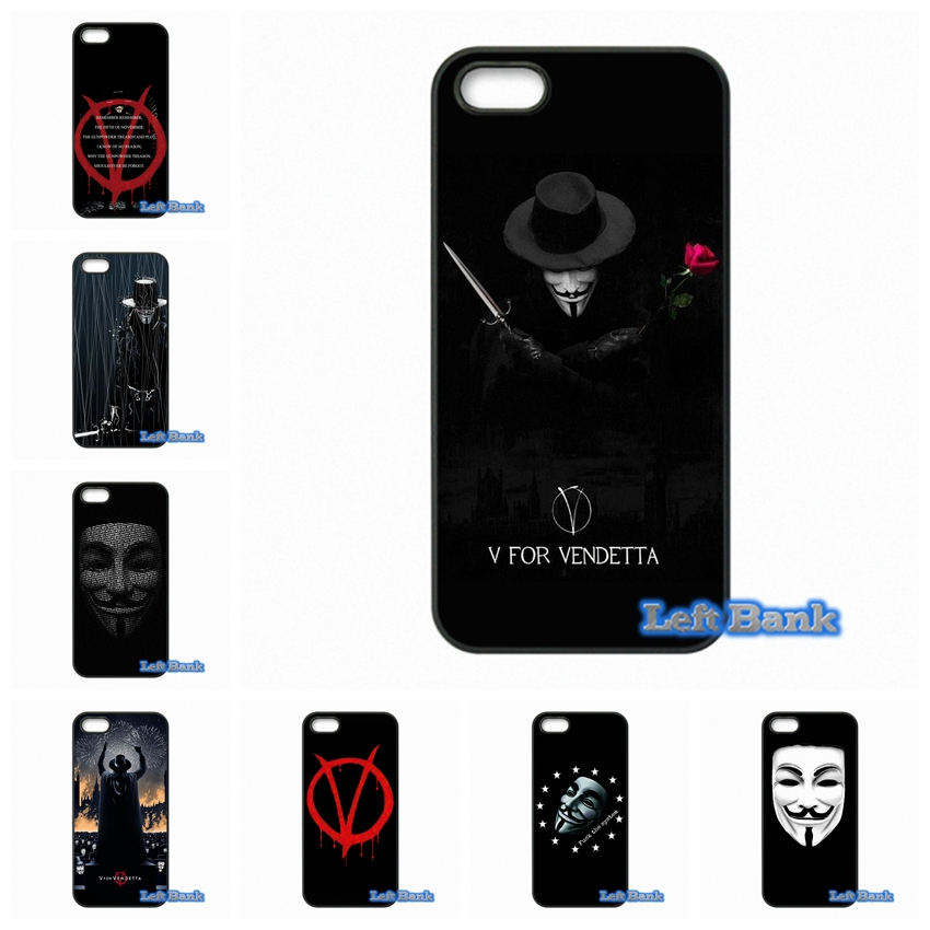 V for Vendetta Mask Phone Cases Cover For Apple iPhone 4 4S 5 5C SE 6 6S 7 Plus 4.7 5.5 iPod Touch 4 5 6