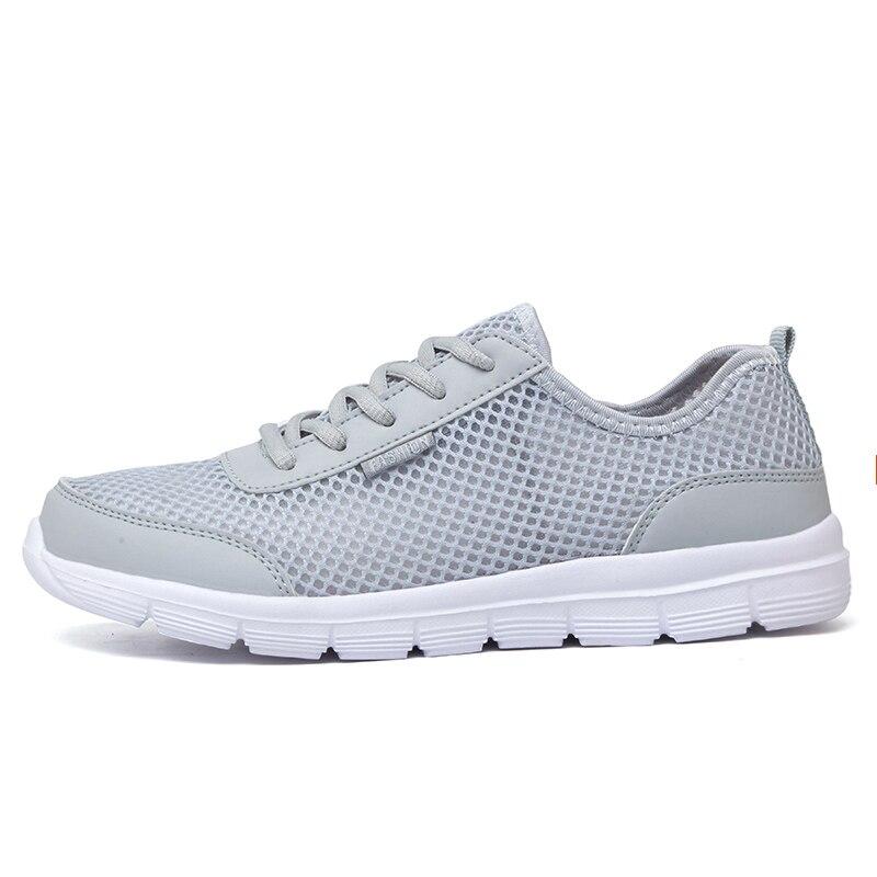 мужская обувь лето 2017 г. модная дышащая мужская повседневная обувь на шнуровке высокое качество плоский сетки обувь плюс размер 35-48