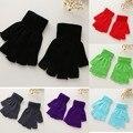 Black Stretch Malha Meia Luvas de Dedo Luvas Sem Dedos para Mulheres Inverno Quente e Macio Elástico Acessórios