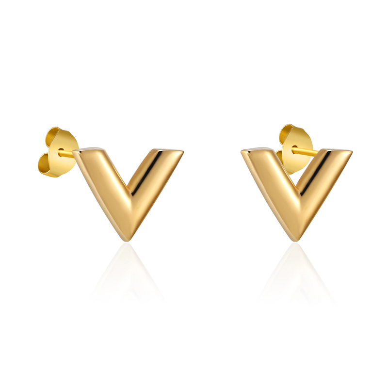 New Arrivals Exquisite Stereoscopic V Pattern Stud Earrings For Women Man Top Quality Titanium Steel Earrings Piercing Jewelry