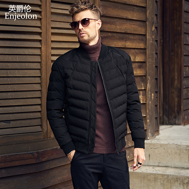 Enjeolon Brand Cotton Padded Jacket coat Men black Parka stand collar coat Thick Quilted fashion Coat Men plus size S-3XL MF0275 stand collar ruffle hem quilted coat