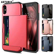 Case For iPhone 5 5s 6 6S Plus Case Slide Armor Wallet Card Slots Holder Cover For iPhone 7 8 Plus Case For iPhone X XS Max XR high quality flip open pu pc case w card slots for 5 5 iphone 6 plus deep blue