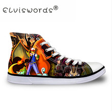 ELVISWORDS Boys Shoes Japanese Anime Printing Canvas Shoe High Top Flat Shoe Lace Up Footwear Pokemon Pattern Vulcanize Man Shoe