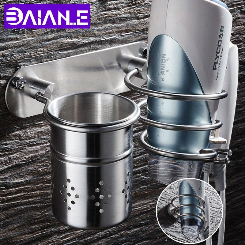 Bathroom Hair Dryer Holder Stainless Steel Wall Mounted Hair Dryer Rack Save Space with Basket Multipurpose Toilet Shelf Storage стоимость