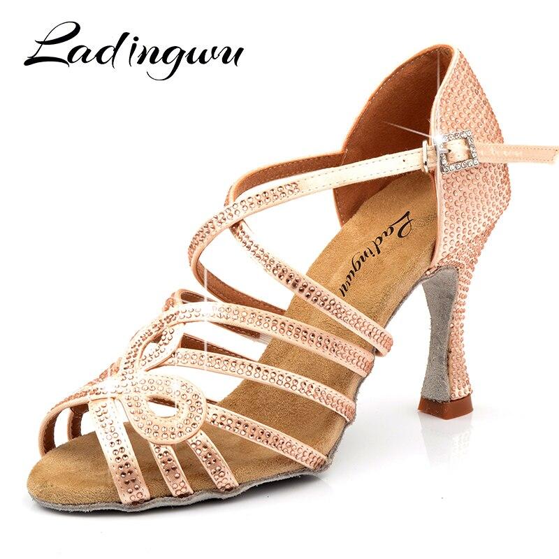 Ladingwu New Soft Bottom Latin Salsa Dance Shoes Silk Satin Woman Champagne Rhinestone Ballroom Party Dance Shoes Wedding Shoes
