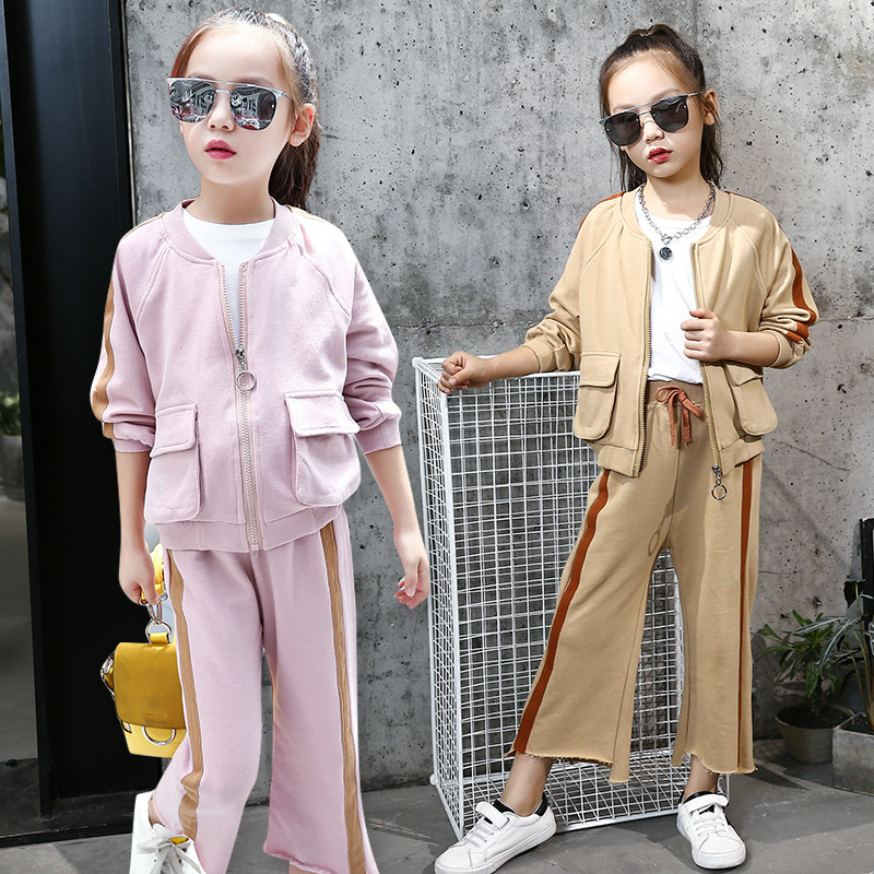 children sports suits for girls outfits teenage little girl clothing sets fashion children tracksuits sportswear jackets + pants 2017 kids clothing sets for girls striped print sports suits girls tracksuits cotton casual sportswear children outfits 13 14 t