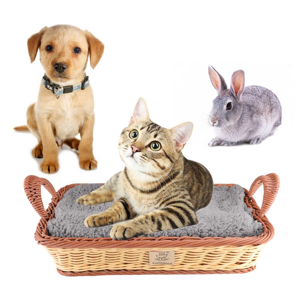 חיות מחמד בית בית גידול נייד לחיות מחמד סל לחיות מחמד מיטת סל קן מלבן PP סרוג מיטה עם קטיפה שמיכת לחתולים כלבים חיות מחמד
