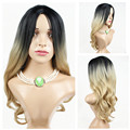 Long Black Ombre Blonde Women Natural Full Lace Wigs Body Wave Synthetic Hair Style Puffy Middle Parted Hair Pieces for Lady