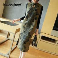 Large Size Keep Warm Vintage Dress Women Cheongsam Style Print Knitted Dresses Women Sweater Dress Elegant Vetement Femme 2018