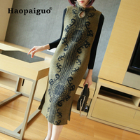 Large Size Keep Warm Vintage Dress Women Cheongsam Style Print Knitted Dresses Women Sweater Dress Elegant Vetement Femme 2018
