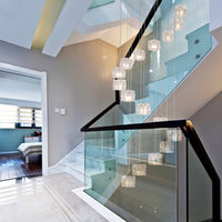 Elegant Long Chandeliers for Stairs and Staircases Glass Shade Chandelier on the Stairs Spiral Chandelier Hanging Lights LED