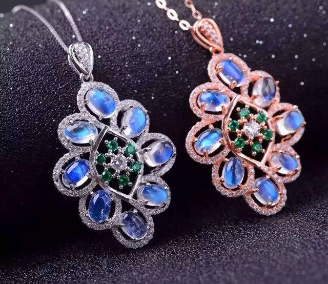 Natural azul piedra de luna colgante S925 Collar de plata Colgante de piedras preciosas Naturales de moda elegante gran Círculo de Flores joyería de las mujeres