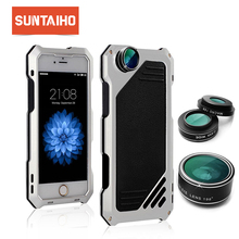 Suntaiho case for iphone 5 6 7 8 X Plus SE Lens 3 in 1 mobile phone lenses fisheye phone camera lens 15X wide angle macro camera