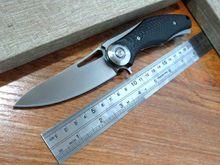 Custom Dark Folding Knives D2 Blade TC4 Titanium + carbon fiber Handle Flipper Tactical Knife Outdoor Camping Survival Knife