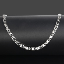 Korean Personality Male and Female Silver Pure Titanium Necklace Magnetic Therapy Health Collar Adjustable