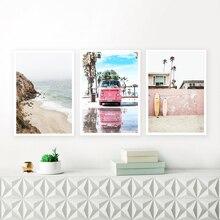 California Beach Poster Art Boho Ocean Bus Prints Coastal Canvas Painting Wall Nordic Decoration Pictures Surf Decor