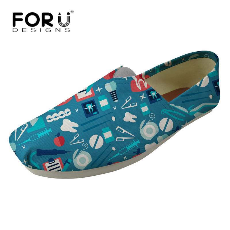 FORUDESIGNS Fashion Dentist Shoes Women Cute Cartoon Dental Equipment Breathable Zapatos Loafers Youth Girls Travel Light Shoes