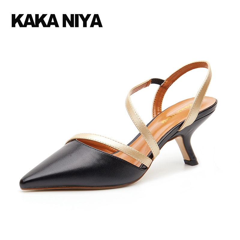 Pointed Toe Slip On High Heels Strappy 2017 Chic Size 4 34 Black Ladies Kitten Sandals Medium Fashion Low Summer Shoes Slingback new 2017 spring summer women shoes pointed toe high quality brand fashion womens flats ladies plus size 41 sweet flock t179