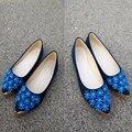 2016 moda em sapatos Flats de camurça de alta qualidade sapatos dedo apontado confortáveis Floral senhoras sapatos baixos