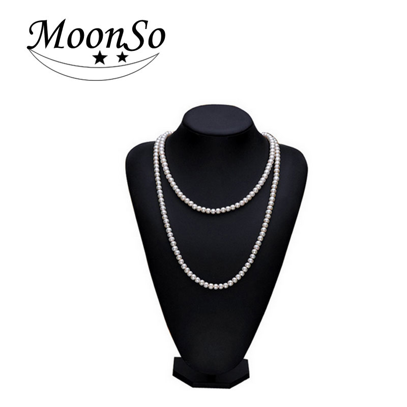 Frais collier en perles La grosse perle long collier pour femmes long collier en perles Élégant et généreux 2016 Presque ronde perle LX1027
