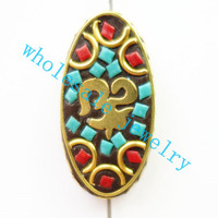 Min Order Is 10 5pcs Lot Nepal Tibetan Type Manual Antique Bead Flat Oval Brass