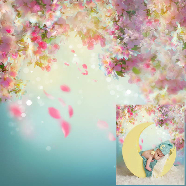 Newborn Floral Photography Backdrop Printed Pink Flowers Falling Petals Baby Shower Props Kids Children Photo Studio Backgrounds