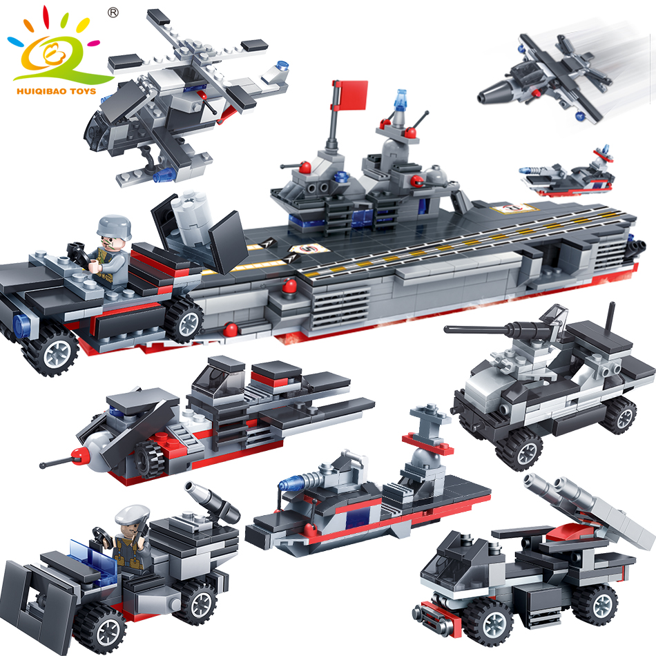 763PCS 8in1 Military warship soldier Building Blocks Compatible legoed city Army weapon DIY Boat bricks Educational Children Toy kazi 608pcs pirates armada flagship building blocks brinquedos caribbean warship sets the black pearl compatible with bricks
