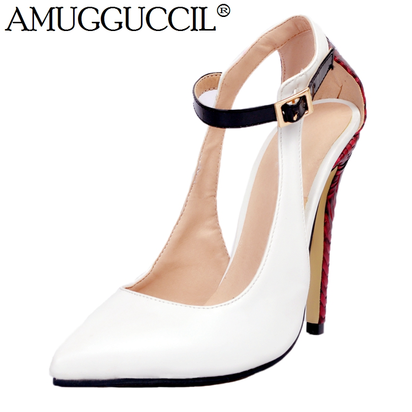 2018 New Arrival Plus Big Size 34-47 White Buckle Fashion Sexy High Heel Spring Autumn Girls Female Lady Shoes Women Pumps D1158 taoffen plus big size 34 47 women stiletto high heel shoes sexy lady platform spring fashion heeled pumps heels shoes p16740