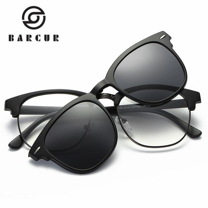 miglior servizio cfbe6 9830e US $12.46 49% di SCONTO|BARCUR TR90 Occhiali Da Sole Clip di Occhiali Da  Sole Cornice Magnetica Con Clip di occhiali Da Sole Include Telaio Occhiali  ...