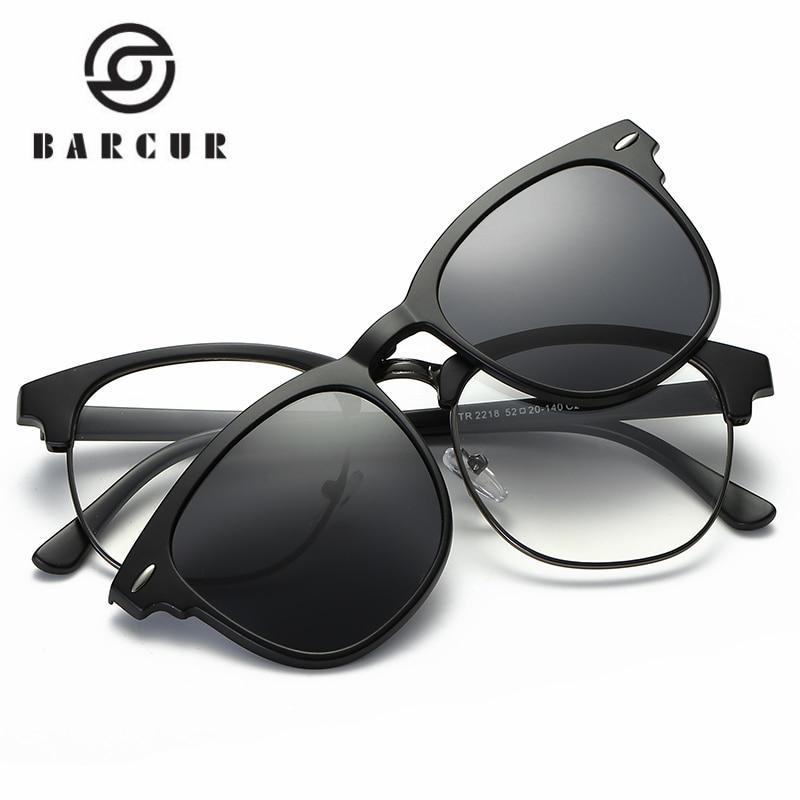 Gafas de sol con clip magnético BARCUR TR90 Gafas de sol con montura Gafas de sol Incluye clip polarizado con montura en gafas de sol