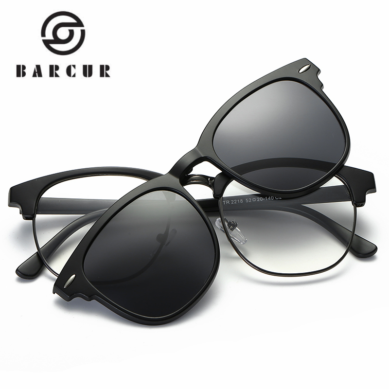BARCUR TR90 משקפי שמש קליפ משקפי שמש מסגרת מסגרת עם משקפי שמש קליפ לכלול מסגרת קליפ מקוטב על משקפי שמש