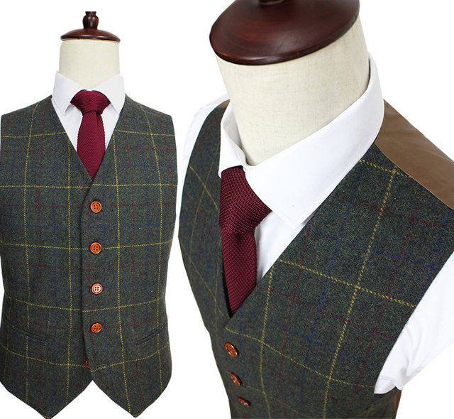 Online Shop Wool Green Ckeck Tweed Custom Made Men suit Blazers ...
