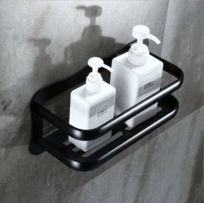 цена на Wall Mounted Black Aluminum Bathroom Soap Basket Holder Shower Shampoo Shelf Bath Shower Shelf corner shelf building material