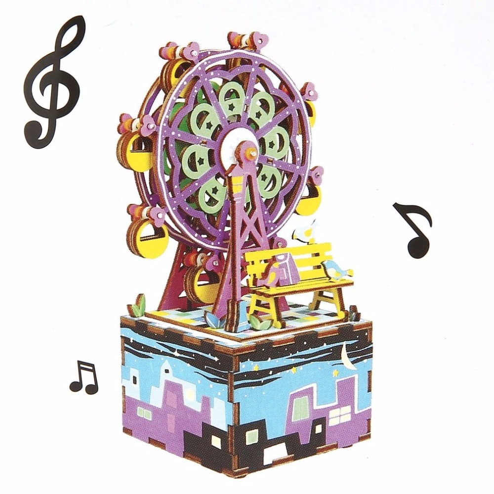 OCDAY Creative DIY Box with Music 3D Wooden Puzzle Toy Carousel Robot Ferris Wheel Musical Assembly Boxes for Kids Children Baby neje yw0007 2 diy puzzle toy space sand air magic clay plasticine sand for kids pink 0 5kg